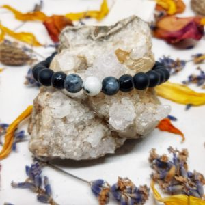 apothecary Magicka energy bracelet triple moon moonstone larvikite black tourmaline black agate